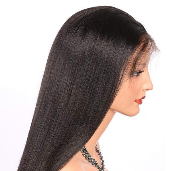 India Human Hair Pre Plucked 360 Lace Yaki Straight Wigs for black women