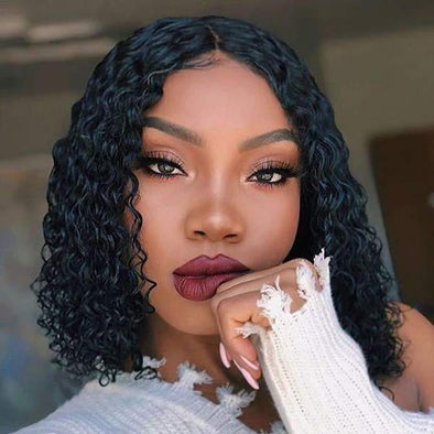 Lace Front Human Hair Curly Bob Wigs for black women