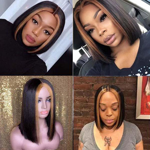 Mix Color 13x6 Lace Front Human Hair Straight Bob Wigs for black women