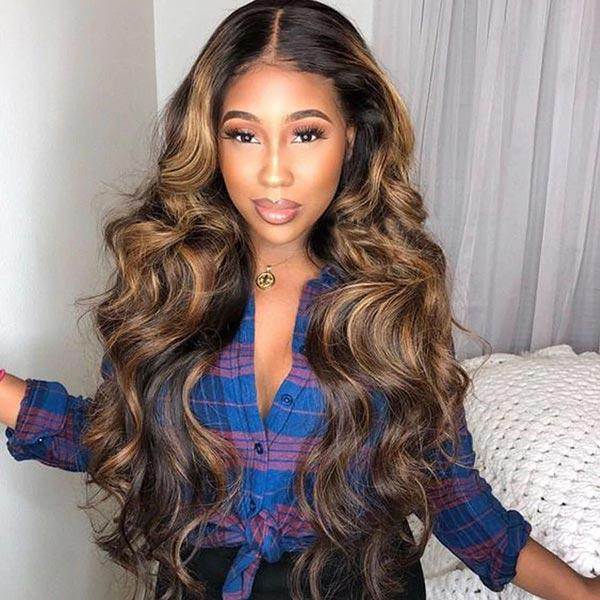 4x4 Lace Frontal Highlight Honey Blonde 2/27 Body Wave Pre-plucked Remy Human Hair Wigs