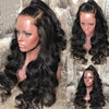 Natural Black Full Lace Body Wave Remy Human Hair Wigs Pre-plucked