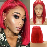 Red Bright Colored 13x6 Lace Front Human Hair Straight Bob Wigs