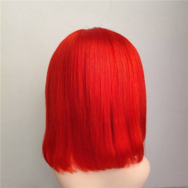 Red Bright Colored 13x6 Lace Front Human Hair Straight Bob Wigs Affordhair for Black Woman