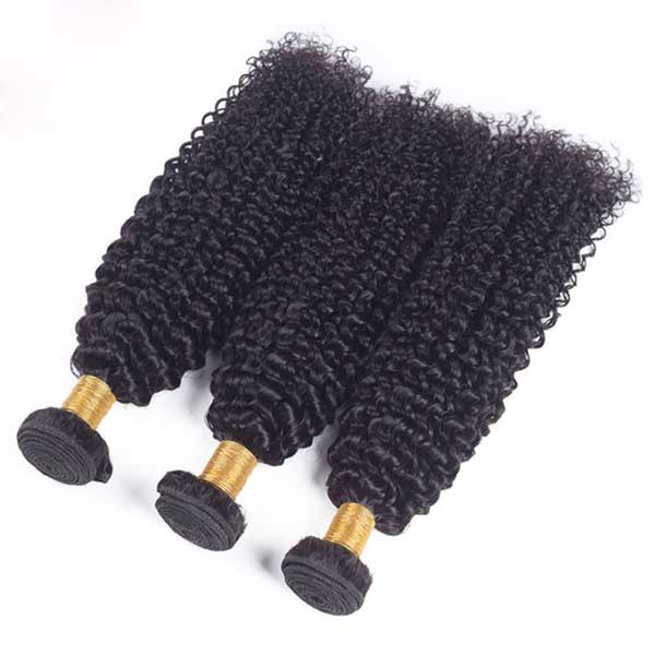 Curly Natural Black Hair Extension Remy Human Hair Bundles /3 Pieces