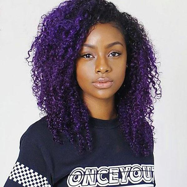 4x4 Lace Front Bright Purple Ombre Remy Human Hair Wigs Pre-plucked 1B/Bright Purple, Curly