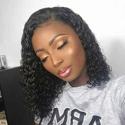 Fake Scalp Lace Front Curly Bob Wigs Affordhair for Black Woman