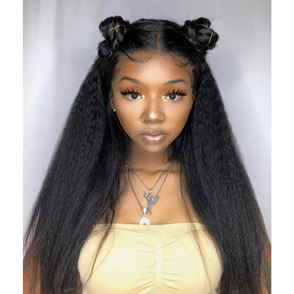 360x6 Lace Frontal Fake Scalp Kinky Straight Pre Plucked Remy Human Hair Wigs