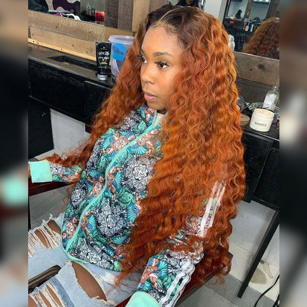 Ginger Orange Long Human Hair Lace Front Wigs with Baby Hair, Curly/Straight Ombre Peruvian Human Hair Wigs Pre-Plucked