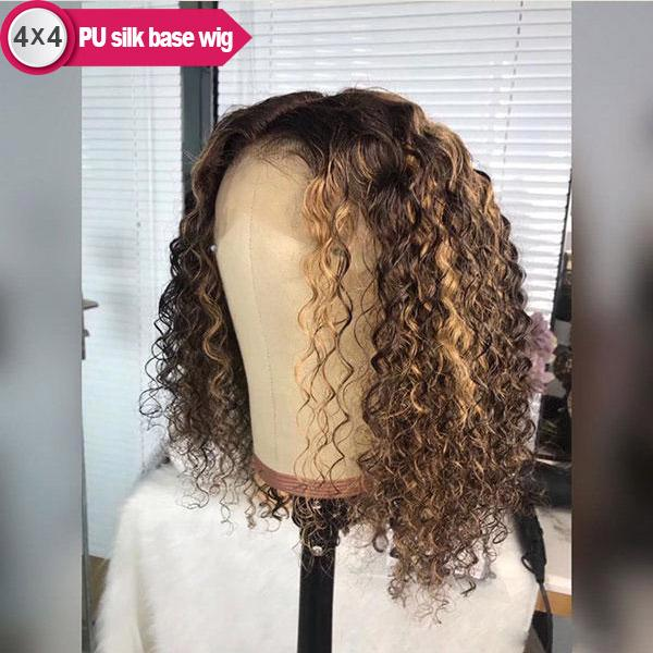 Curly 4x4 PU Silk Base 4/27 Honey Blonde Highlight Bob Remy Human Hair Wigs With Pre-plucked Hair-line