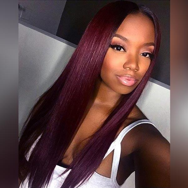 4x4 Lace Front Burgundy Long Remy Human Hair Wigs with Pre-plucked Hairline 1B/99J, Straight