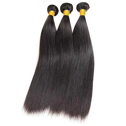 Straight Natural Black Hair Extension Remy Human Hair Bundles /3 Pieces