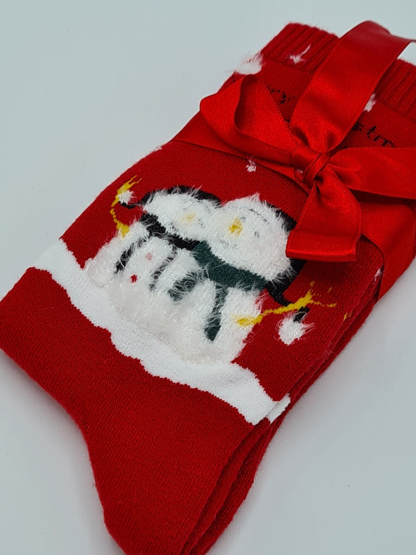 Women's warm terry socks Snowman