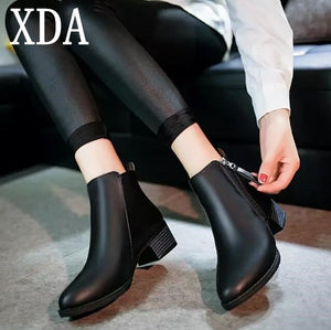8c347477640bf XDA 2018 spring Autumn Women zipper Ankle Boots High Quality Solid European Ladies  shoes Leather Fashion Boots Size 35-40 F07