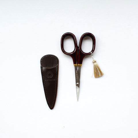 Cohana Small scissors with gold lacquer art (Tamenuri-painting / Brown)
