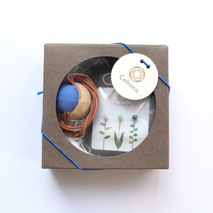 Cohana Gift Set of Pincushions Necklace of Cypress and Banshu Textile with Marking Pins with Glass Beads (Blue)