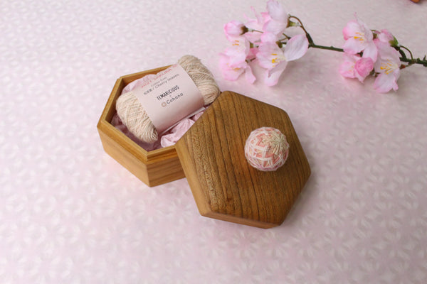 Cohana SAKURA 2021 Limited Edition Set : Hexagonal Temari Box and Sakura-dyed Yarn