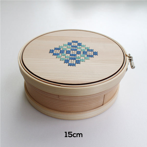 Cohana Magewappa Toolbox Embroidery Hoop - 12 cm / 15cm Green & Blue (Aoi)