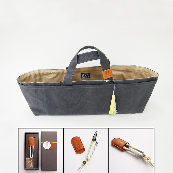 Cohana Gift Set 3 - Canvas tool carrier + Thread Clippers + Brass ruler