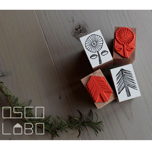 Rubber stamps by Osco Lobo: Wheeled flower, Needle tree