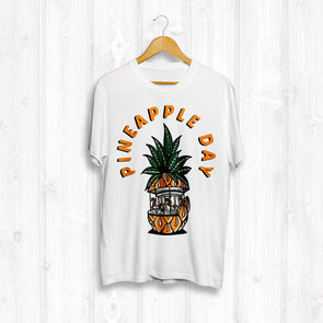 Pineapple Day Front Print Tee - White