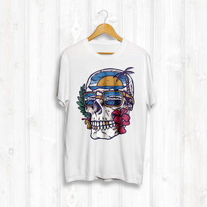Hidden Paradise Front Print Tee - White