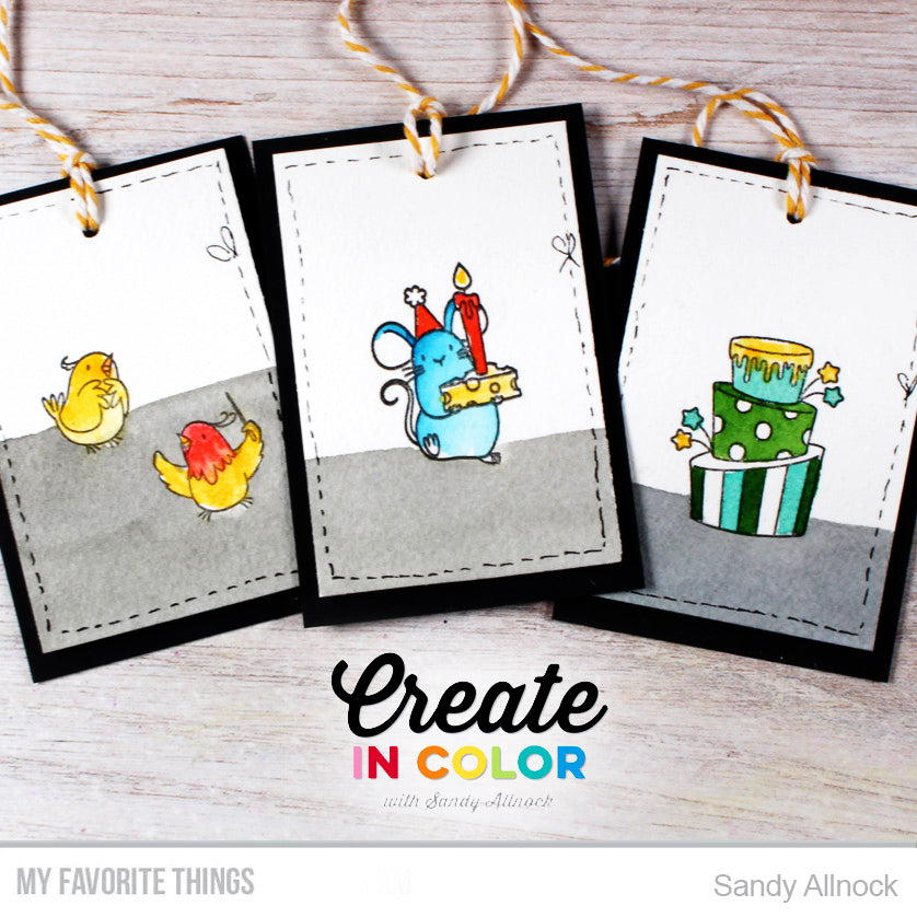 Handmade tags from Sandy Allnock featuring products from My Favorite Things #mftstamps