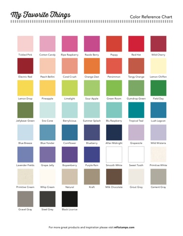 graphic regarding Printable Color Chart identify MFT Printable Components Shade Charts MFT Stamps