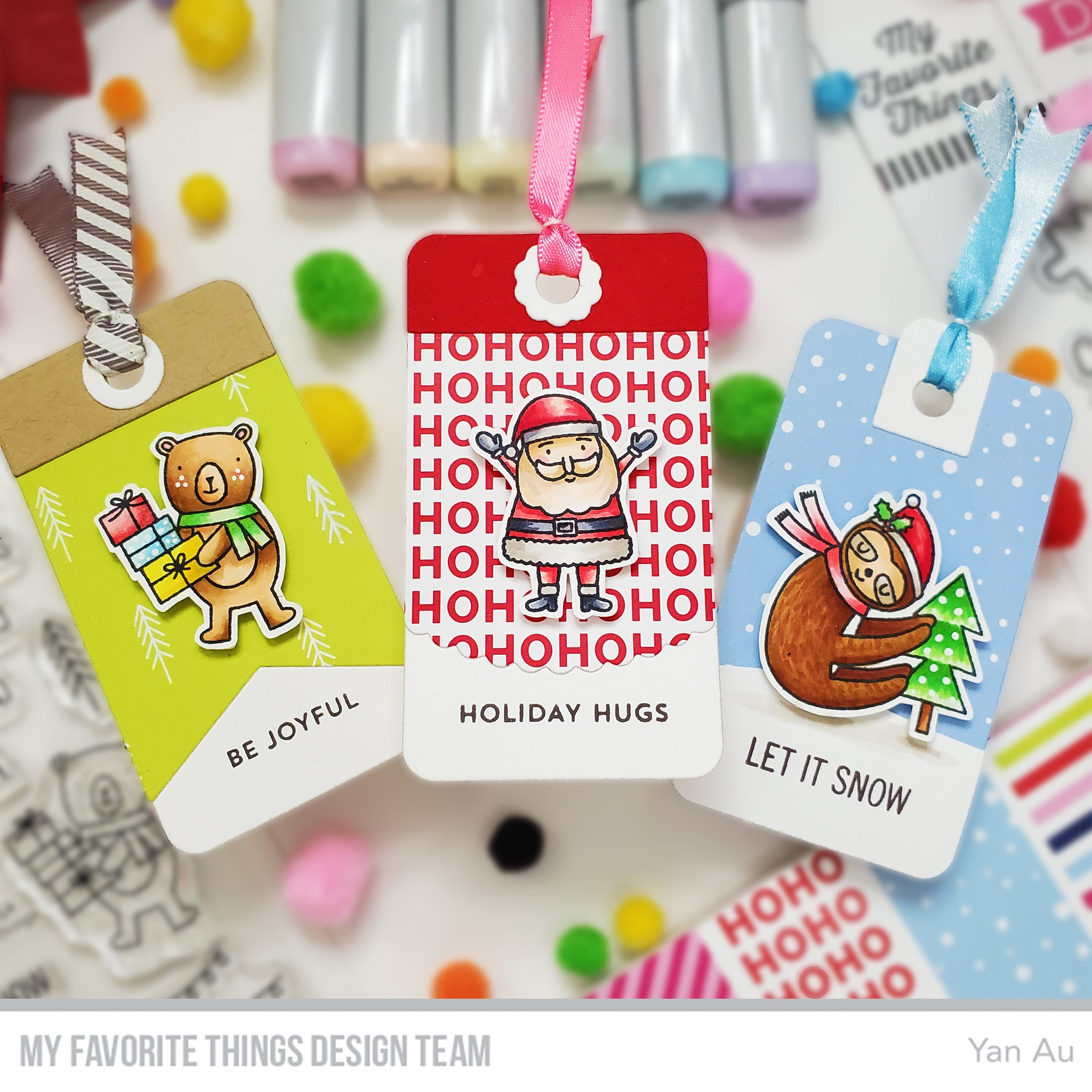 Handmade tags from Yan Au featuring products from My Favorite Things #mftstamps