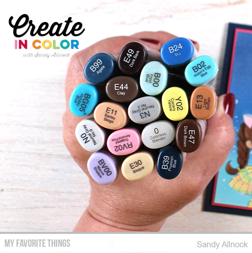 Copic colors from Sandy Allnock for projects featuring products from My Favorite Things #mftstamps