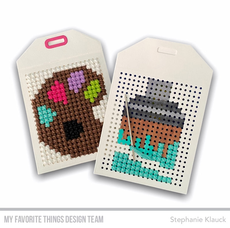 Cross-stitch tags from Stephanie Klauck featuring products from My Favorite Things #mftstamps
