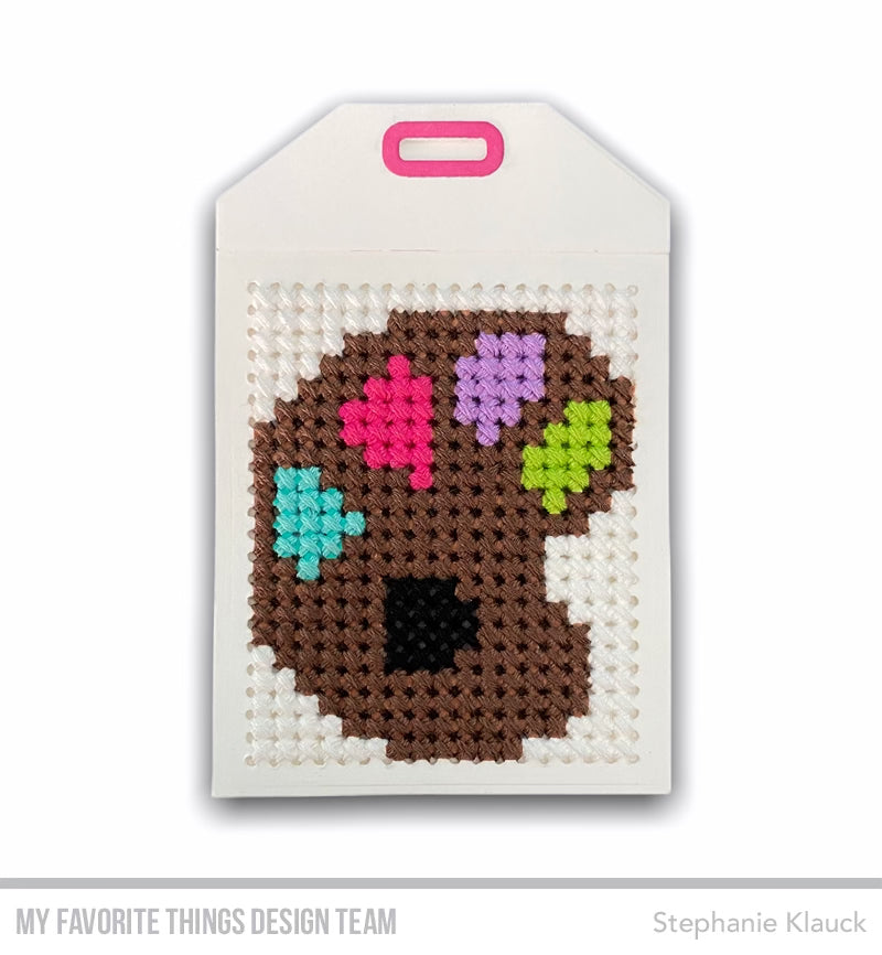 Cross-stitch tag from Stephanie Klauck featuring products from My Favorite Things #mftstamps