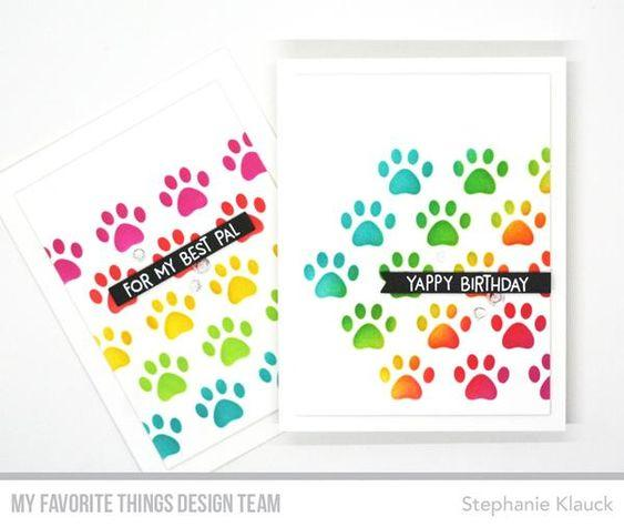 Staggered Paw Prints Stencil