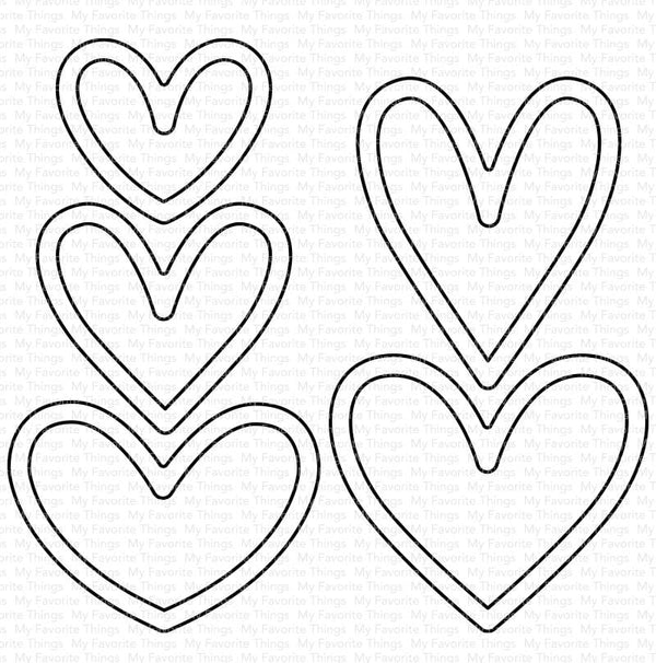 Lots of Hearts Outlines Die-namics