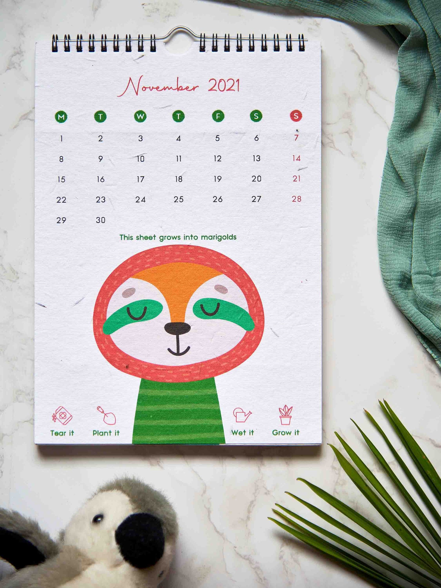 Kids wall calendar made with eco-friendly seed paper
