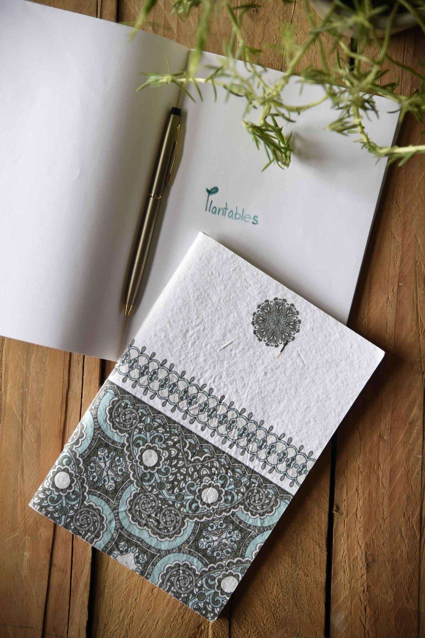 Blue Indian Motif Seed Paper Cover Notebook - Plantables