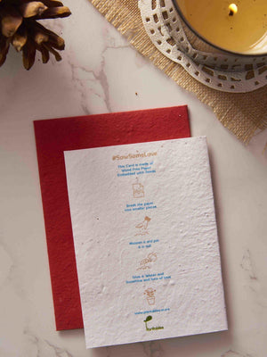 Back side of Merry Christmas and happy new year greeting card in red and white theme