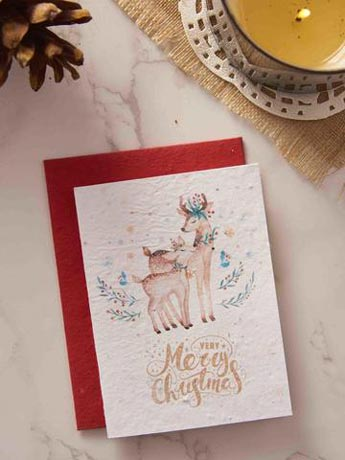 Merry christmas and happy new year greeting card in red and white theme