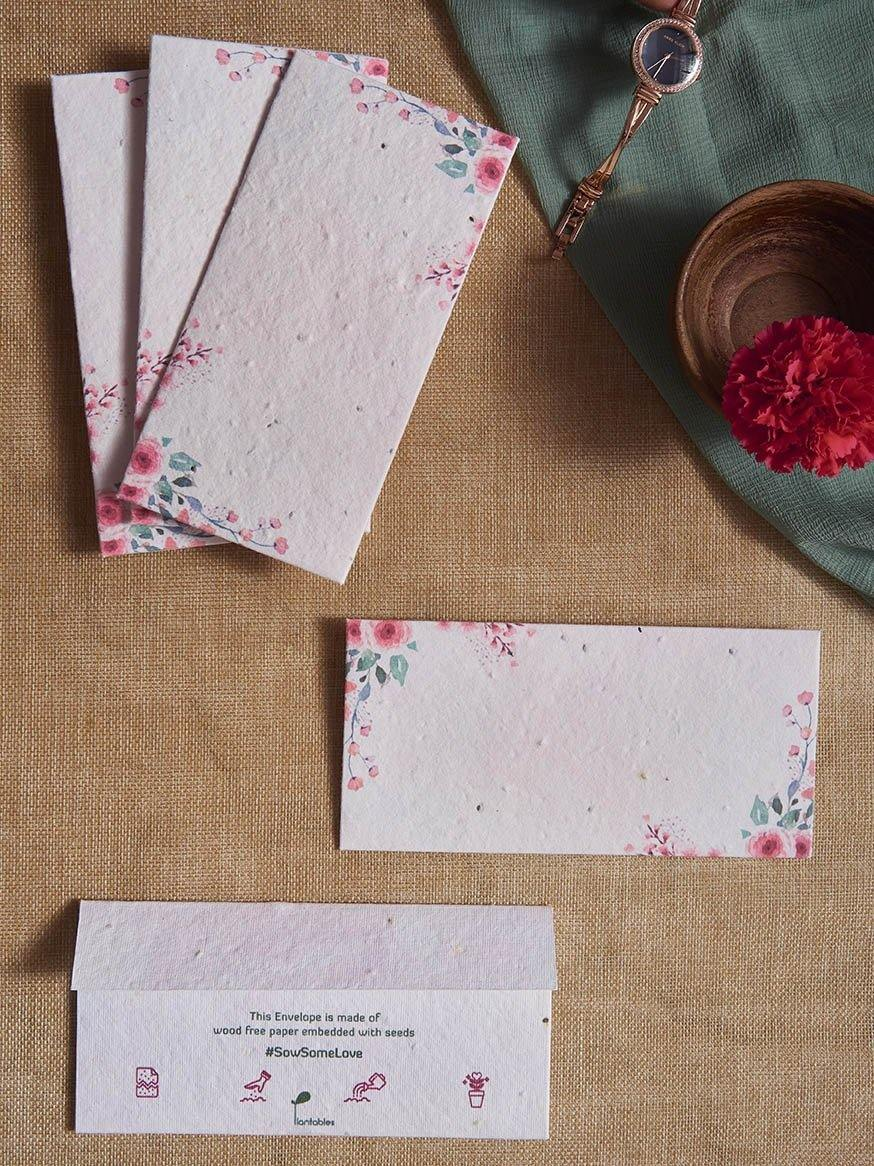 Floral Peaches Seed Paper Gift Envelopes (Set of 5) - Plantables