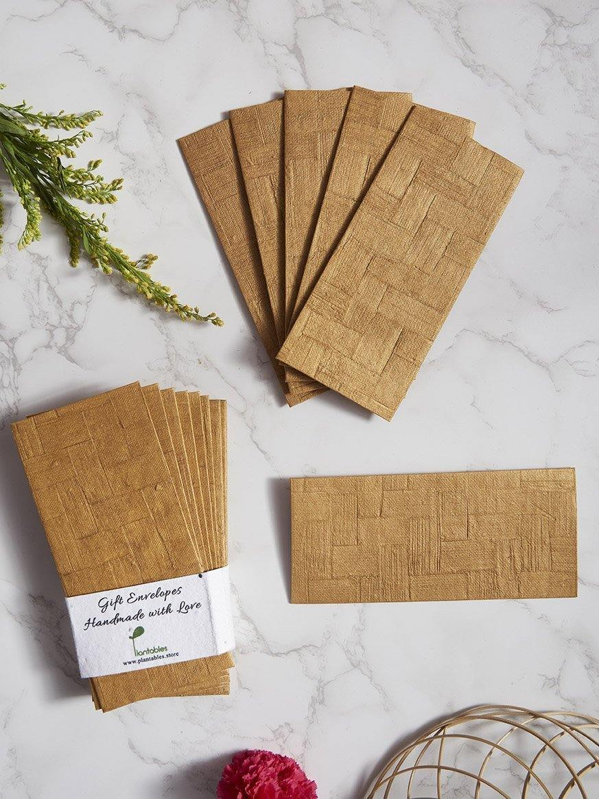 Golden Weave Handmade Paper Gift Envelopes (Set of 12) - Plantables