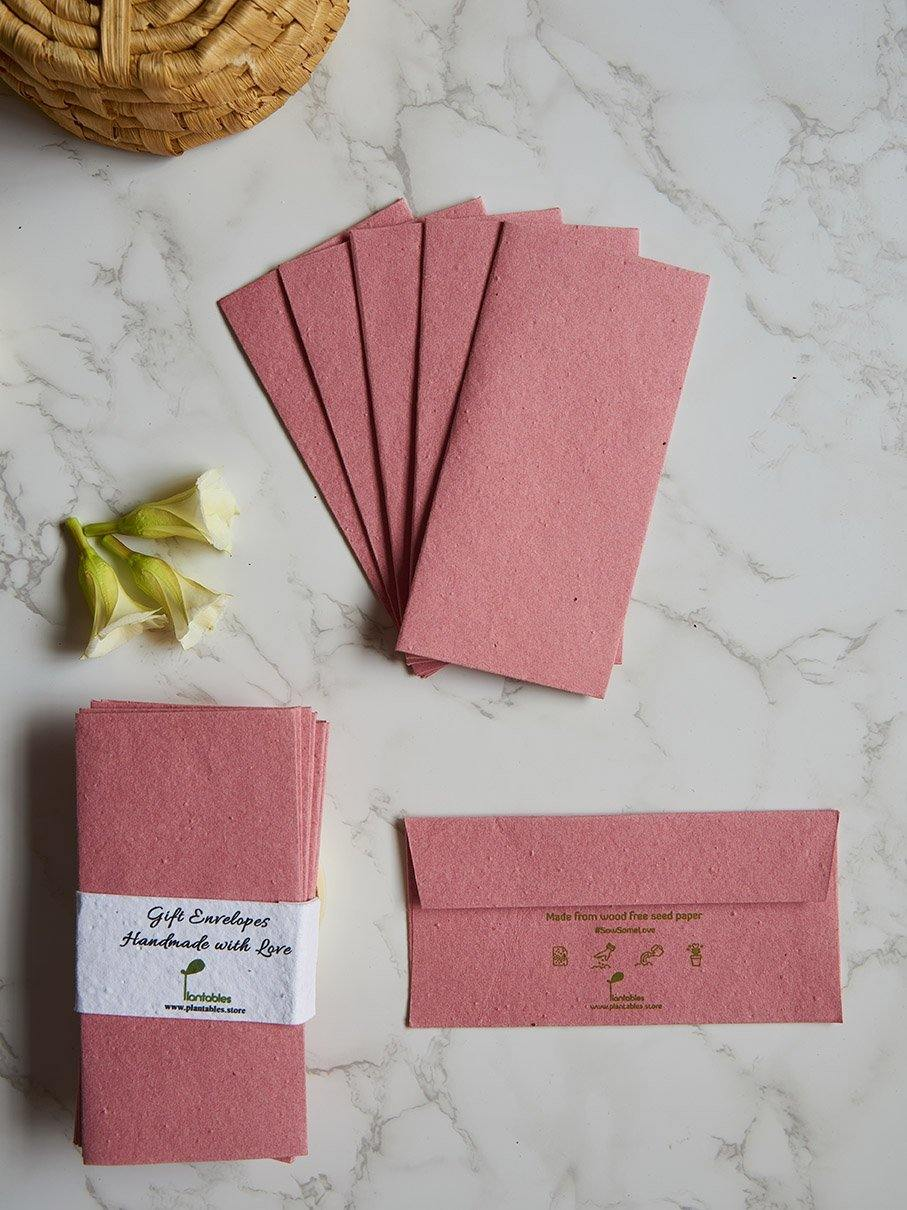Pale Red Colored Seed Paper Gift Envelopes (Set of 6) - Plantables