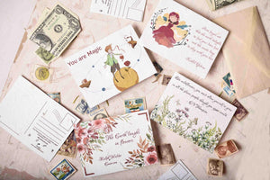 Eco-friendly seed paper postcards with seeds embedded in it