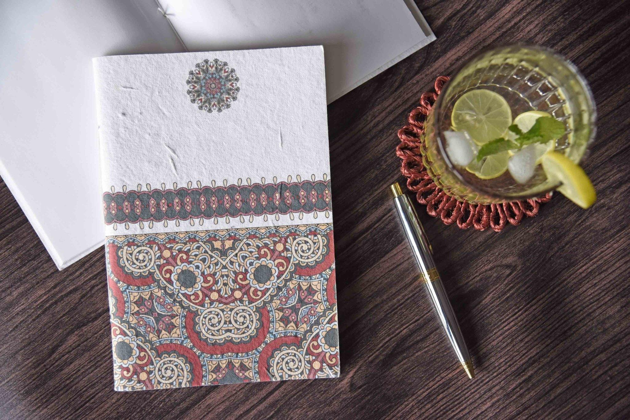 Red Indian Motif Seed Paper Cover Notebook - Plantables