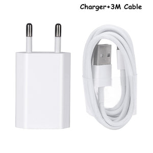 EU Plug USB Cable For Apple iPhone 5 5S 5C SE 6 6S 7 8 Plus X USB Charging Charger AC Travel Wall Charging Charger Power Adapter
