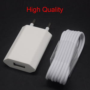 GEUMXL White USB EU Wall Power Adapter Charging Charger Adapter + Original 1m Sync Date Cable For iPhone X MAX XR 7 8 6plu 5 5s