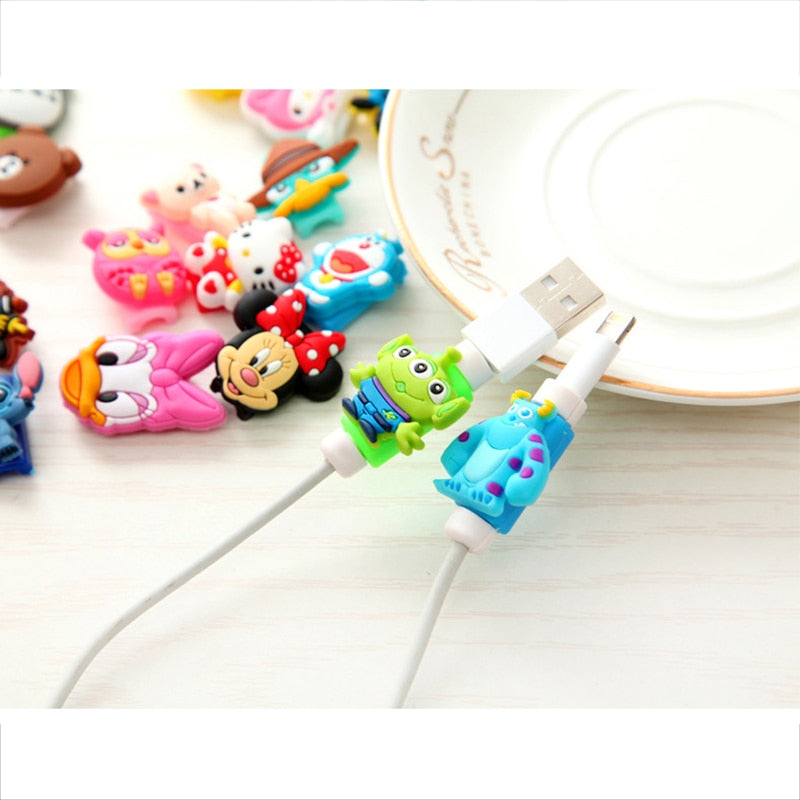 Cartoon USB Phone Cable Cord Protector for iPhone XS Max XR Case For iPhone X 4 4S 5 6 6S 7 8 Plus For iPhone 7plus Cute Cover