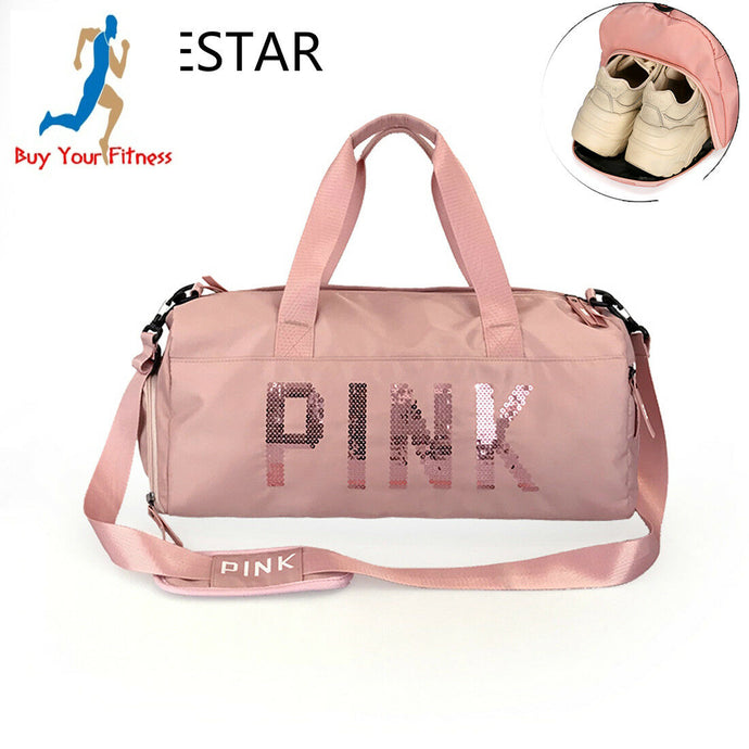 Women Gym Fitness Bag Duffle Bag Travel Size Shoulder Luggage Sport Training