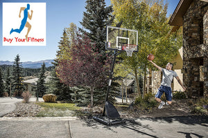"Basketball Hoop Spalding NBA 54"" Portable Angled with Polycarbonate Backboard"