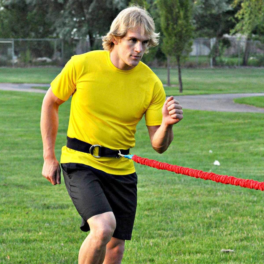 American made adjustable simple belt for use on or off the field with resistance bands. Has large D rings and fits anyone athlete from youth to adult.  High Quality, Sturdy and long lasting material. Best Belt on the market
