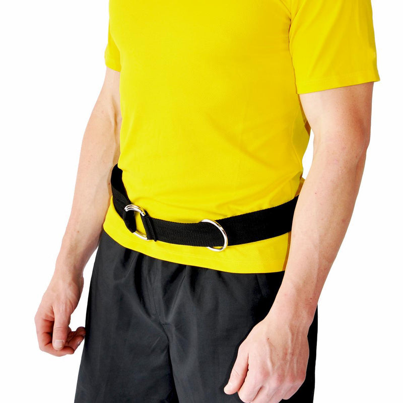 American made belt for use with resistance bands in speed and agility training. Adjustable and one size fits all your athletes. Use with resistance bands, towing lines, sleds, tires and any other speed or agility training exercise