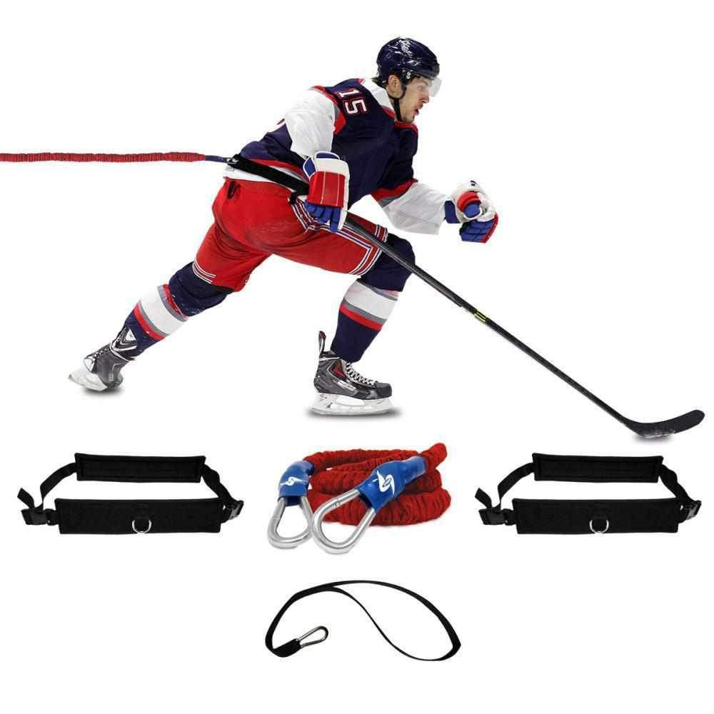 Hockey training gear with belts, bungee, tow line . Resistance training for hockey players to improve the speed and agility on ice while skating. improve your hockey game in just a few weeks. Increase your slapshot and ability to move around on the ice by adding to your ice training sessions.